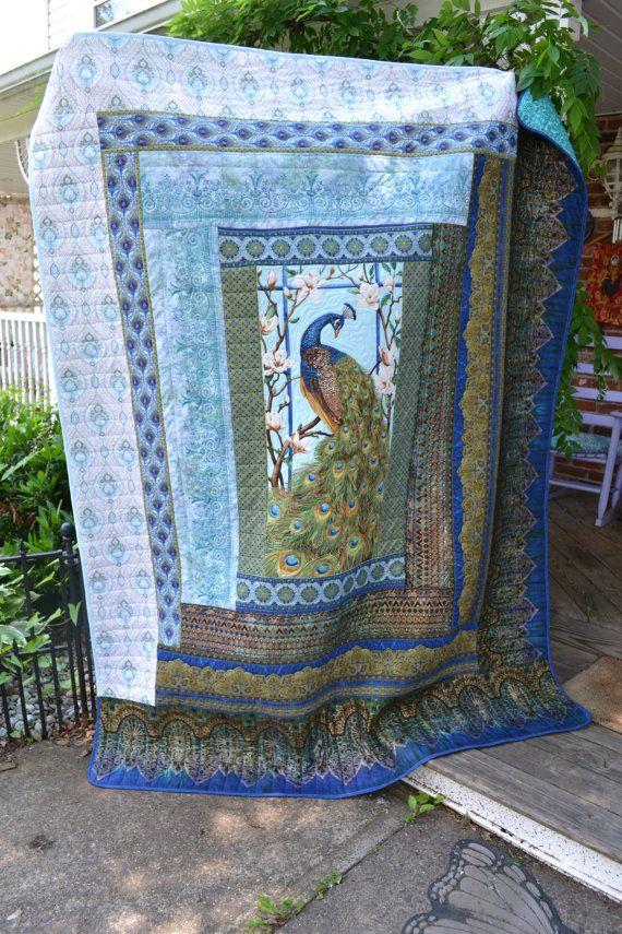 Handmade Quilt Peacock Blue Exotic Blanket Art Deco Style