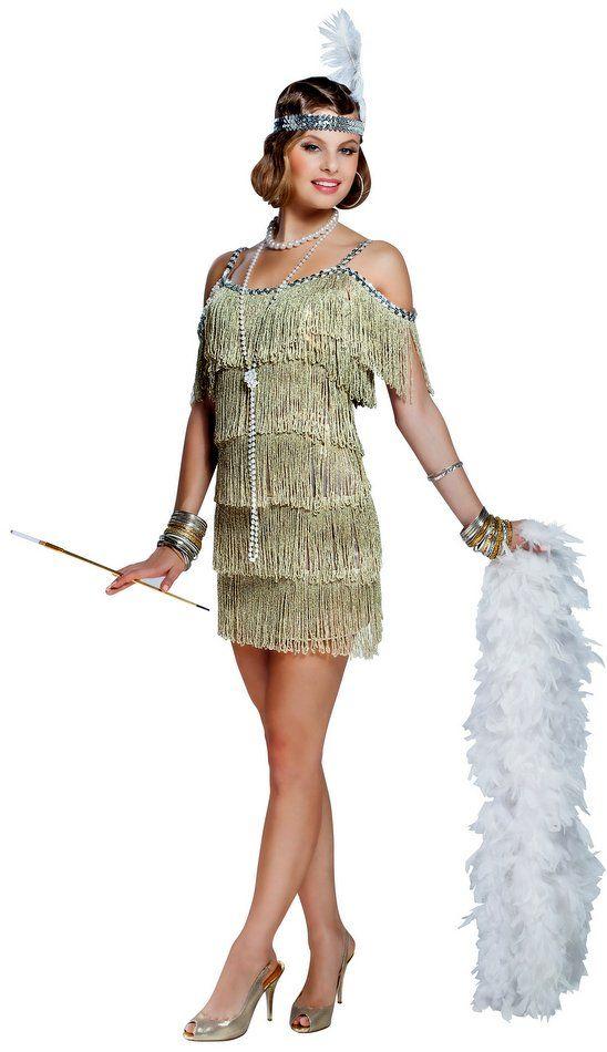 6bf24a7f992cd Champagne Adult Flapper Fringe Costume   Holidays   Flapper costume ...