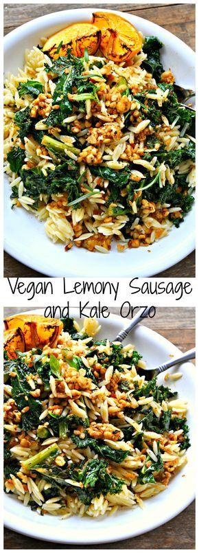Vegan Lemony Sausage And Kale Orzo