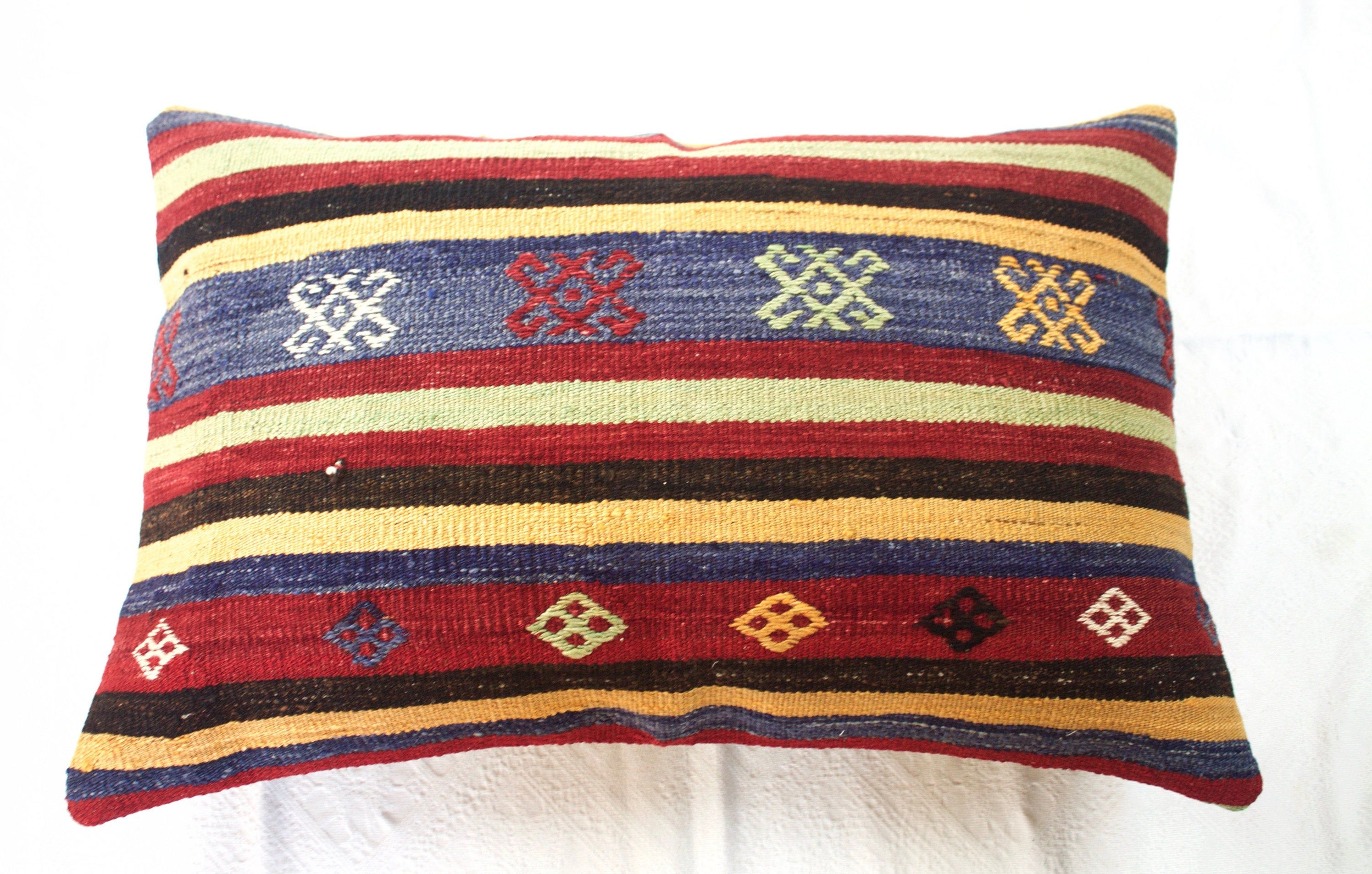 24x35 Kilim Pillow Kilim Floor Pillow Large Red And Blue Pillow