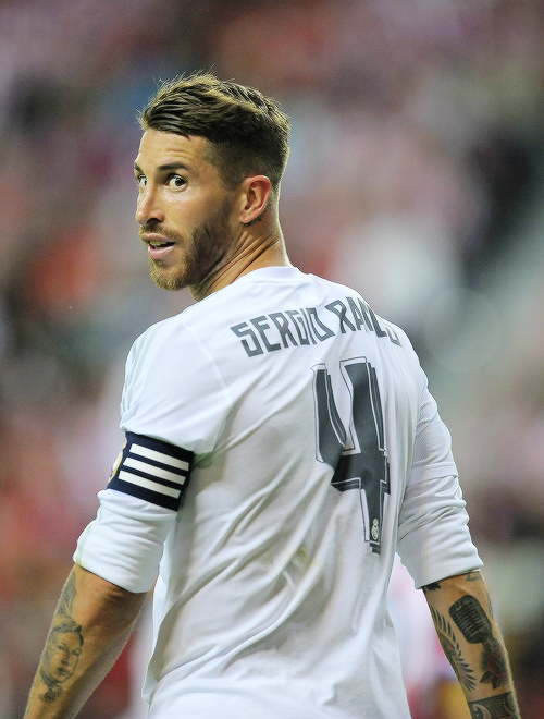 """"""" Sergio Ramos during the match between Sporting de Gijon against Real Madrid"""