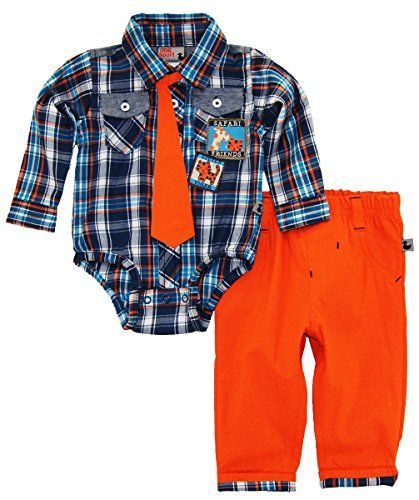 8423836ba401 Dog Sport Baby Boys  Safari Animals Plaid Bodysuit with Tie 2Pc Pant ...