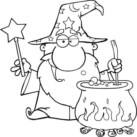 Wizard Waving With Magic Wand And Preparing A Potion Coloring Page