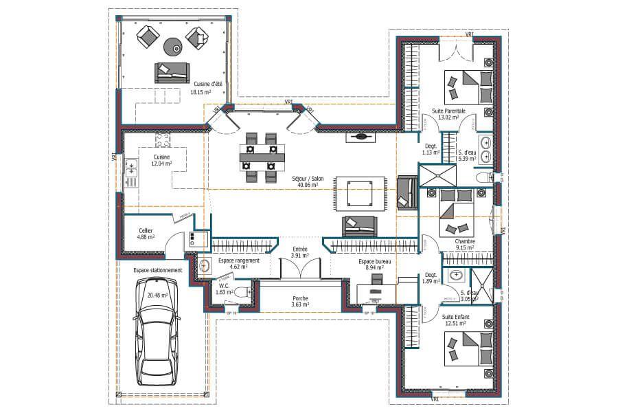 Mod le horizon maison nergie positive plan maison plein pied avec 3 chambres et garage - Mca maisons de la cote atlantique ...