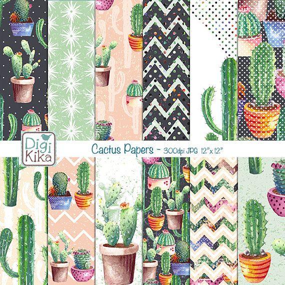 planner sticker Cactus digital paper print