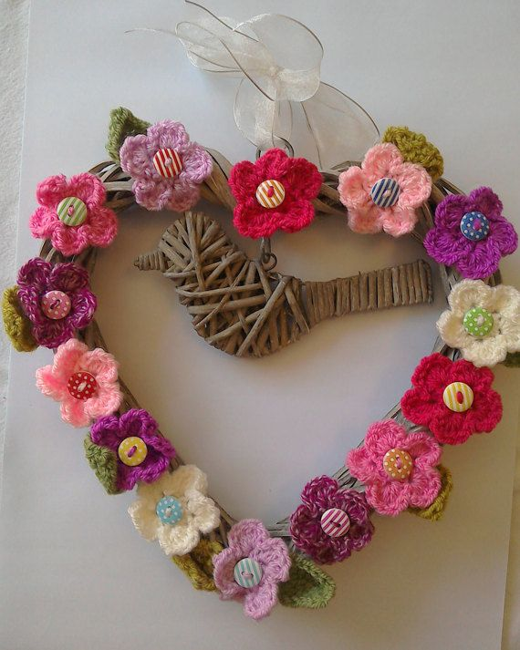 Crochet Flower Hanging Wicker Heart Decoration/Door Hanger with Bird Ribbon and Buttons & Crochet Flower Hanging Wicker Heart Decoration/Door Hanger with ...