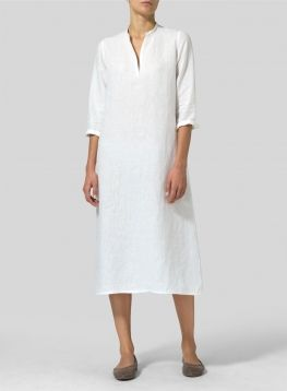 6ae99b3330 Linen V-neck Mandarin Collar Dress Tunic | S T Y L E // wear ...