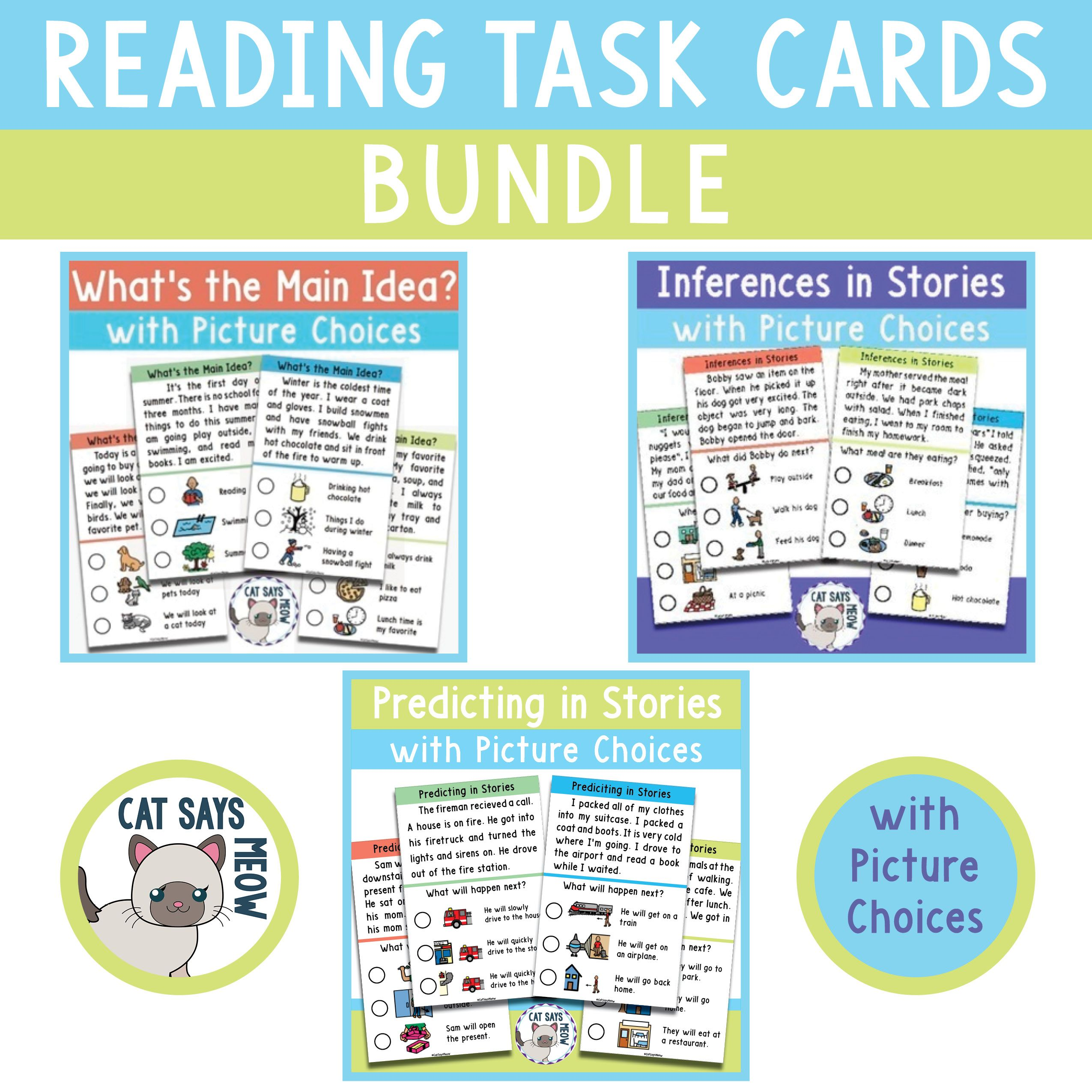 Reading Task Cards With Picture Choices Bundle