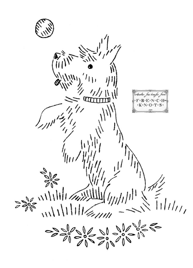 Vintage Embroidery Transfer Patterns Scottie Dogs Diy Sewing