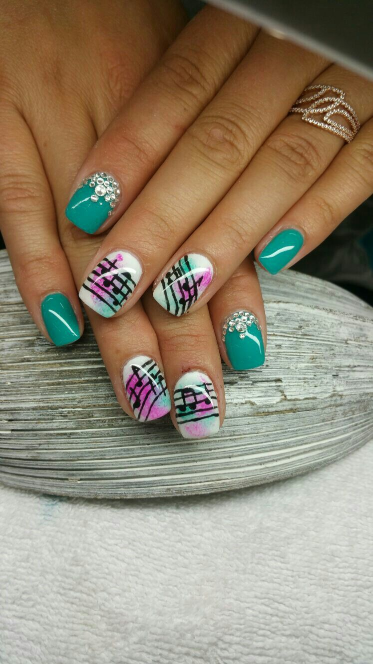 nailart #music #noten #türkis | Nageldesign | Pinterest | Nailart ...