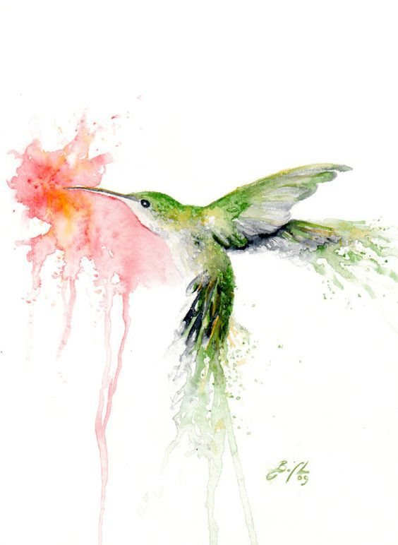 Green watercolor hummingbird smelling a pink hibiscus flower tattoo ...