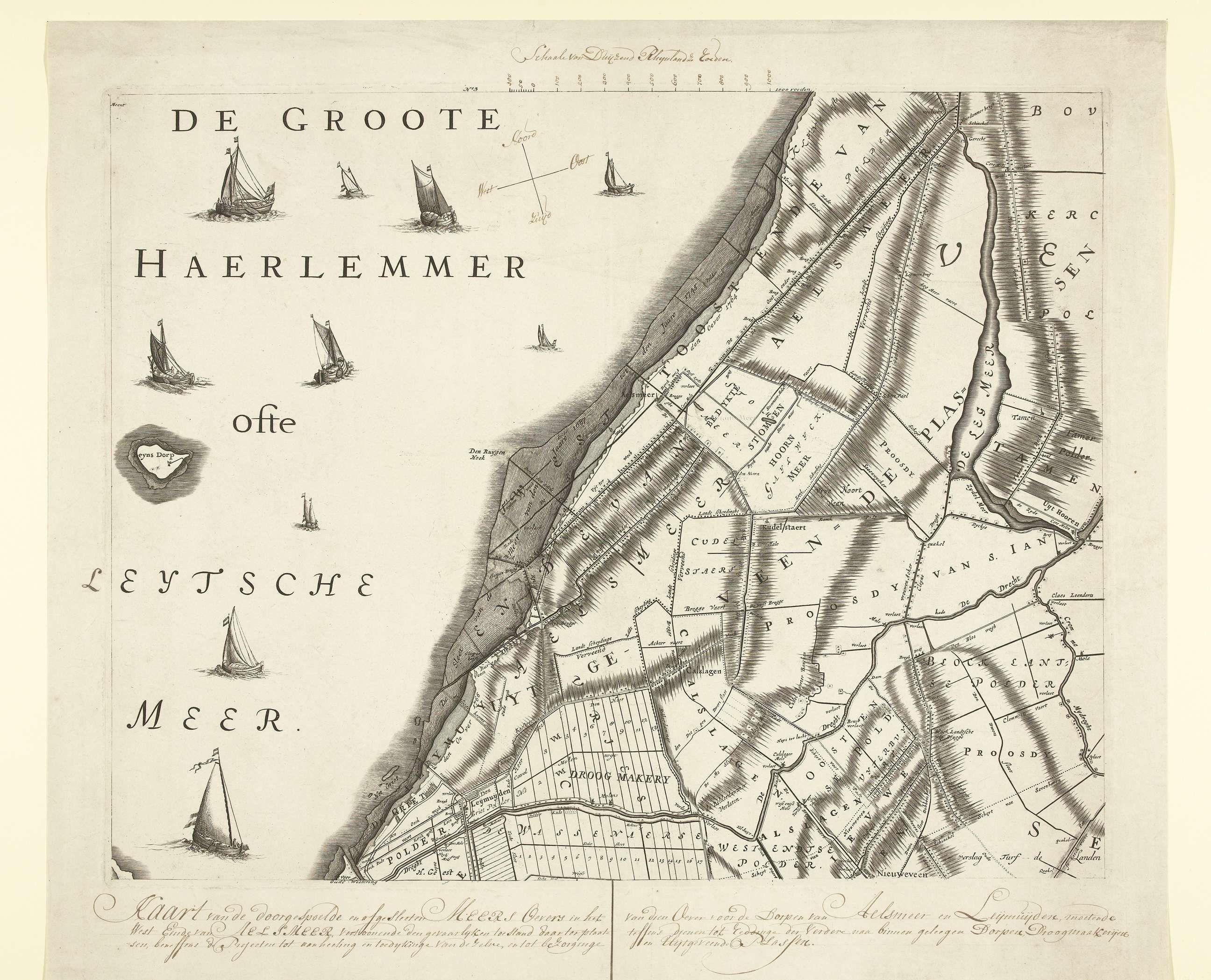 Anonymous Kaart met de oude oevers van de Haarlemmermeer ca 1770