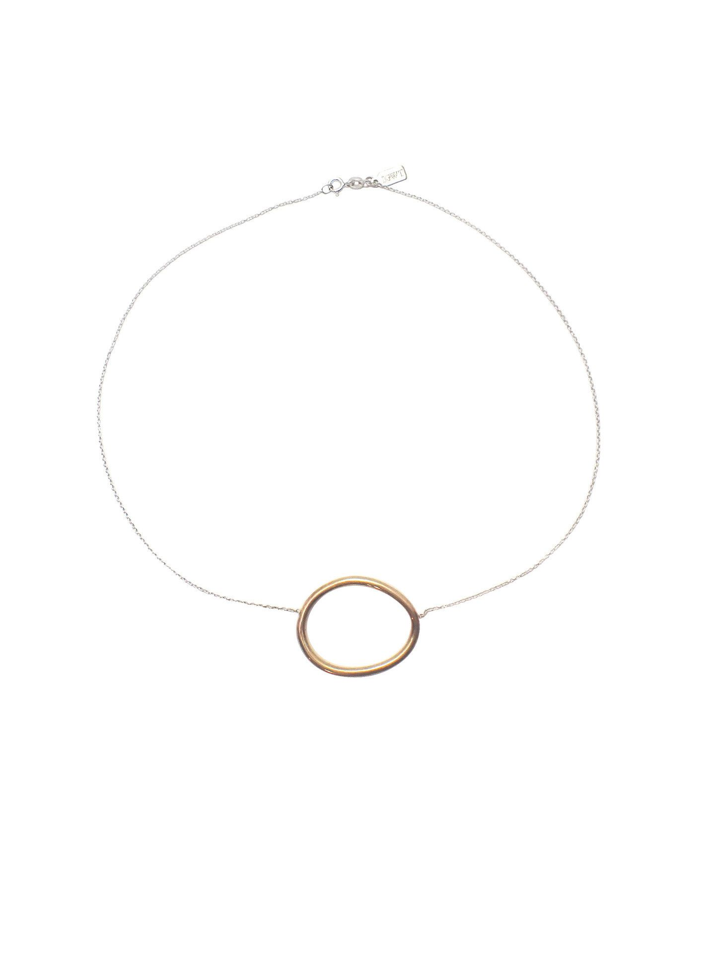Cory Short Necklace / Brass  Organically shaped brass ring on a sterling silver chain. Made in New York City. Independent design. NYC style. Modernist, minimal jewelry. Handmade jewelry.