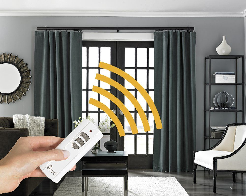 Motorized Erod Center Open Single Curtain Rod And Hardware Set