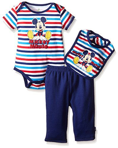 b80bacea4 Disney Baby Mickey Mouse 3 Piece Bodysuit Pant and Bib Set Blue 03 Months  -- For more information, visit image link.Note:It is affiliate link to  Amazon.