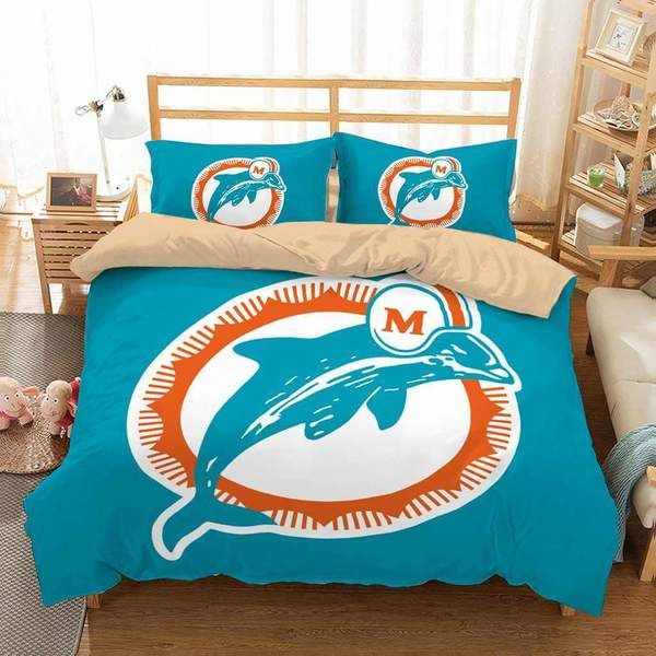 Customize Miami Dolphins Bedding Set Duvet Cover Bedroom Bedlinen
