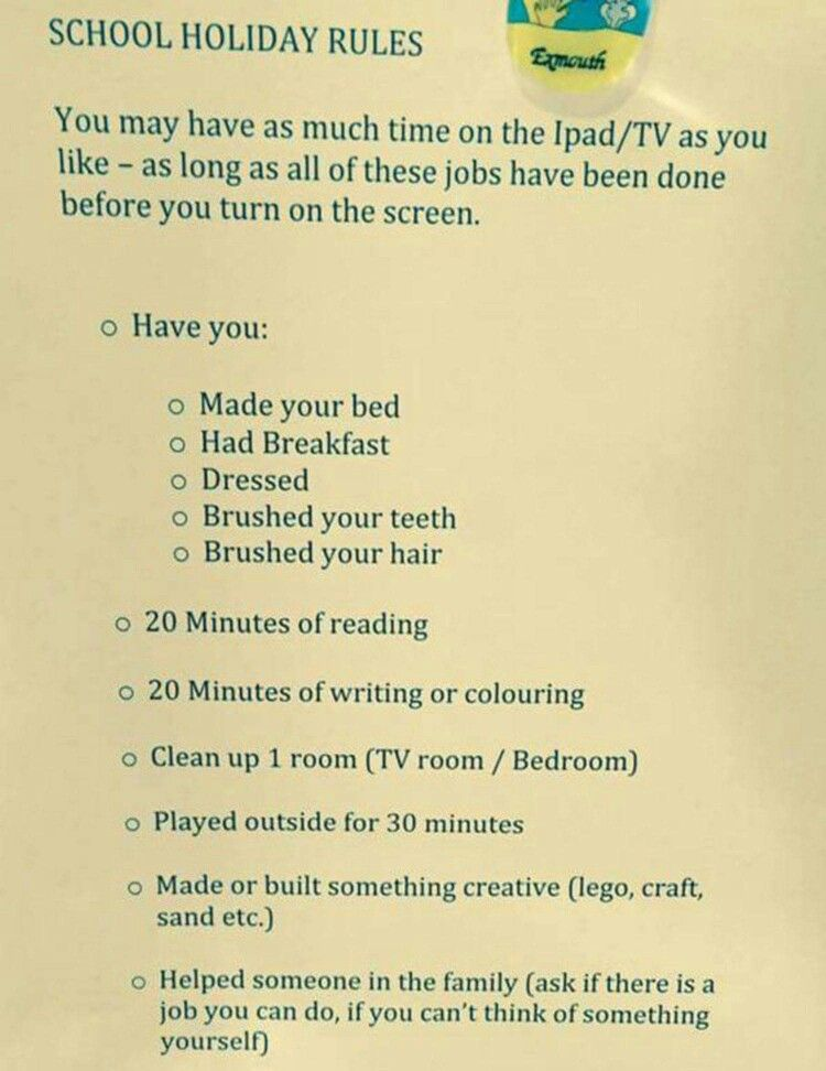 School Holiday Rules. Summer time chore chart. Chores before leisure. No  more lazy kids! 5d62c6714c6