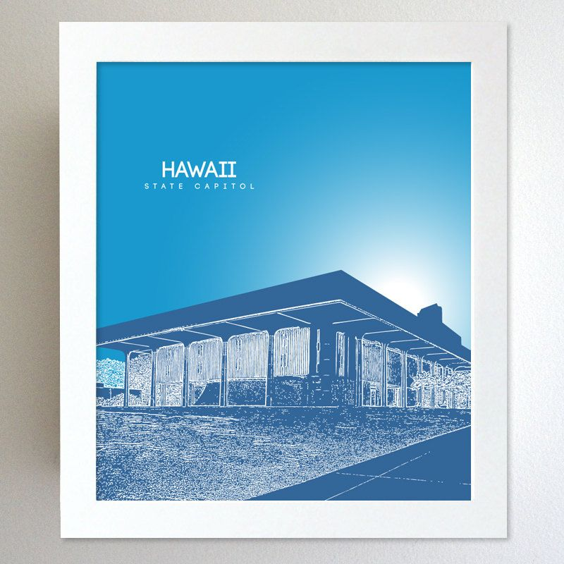 Hawaii Skyline State Capitol Landmark - Modern Gift Decor Art Poster 8x10. $20.00, via Etsy.