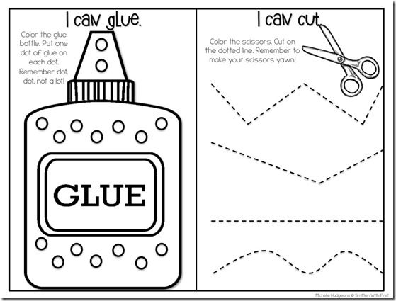 Pre-instructional assessment worksheet: cutting, coloring and gluing ...