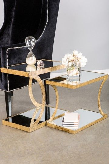 Udaya Side Tables with Mirrored Top - Set of 2 by Chic Design Posh