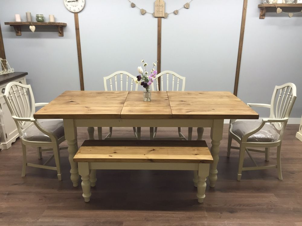 Shabby Chic Extendable Farmhouse Table Pine Oak Rustic Chairs