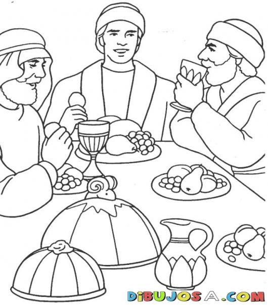 Colorear a Jose comiendo con sus hermanos | COLOREAR BIBLICOS ...