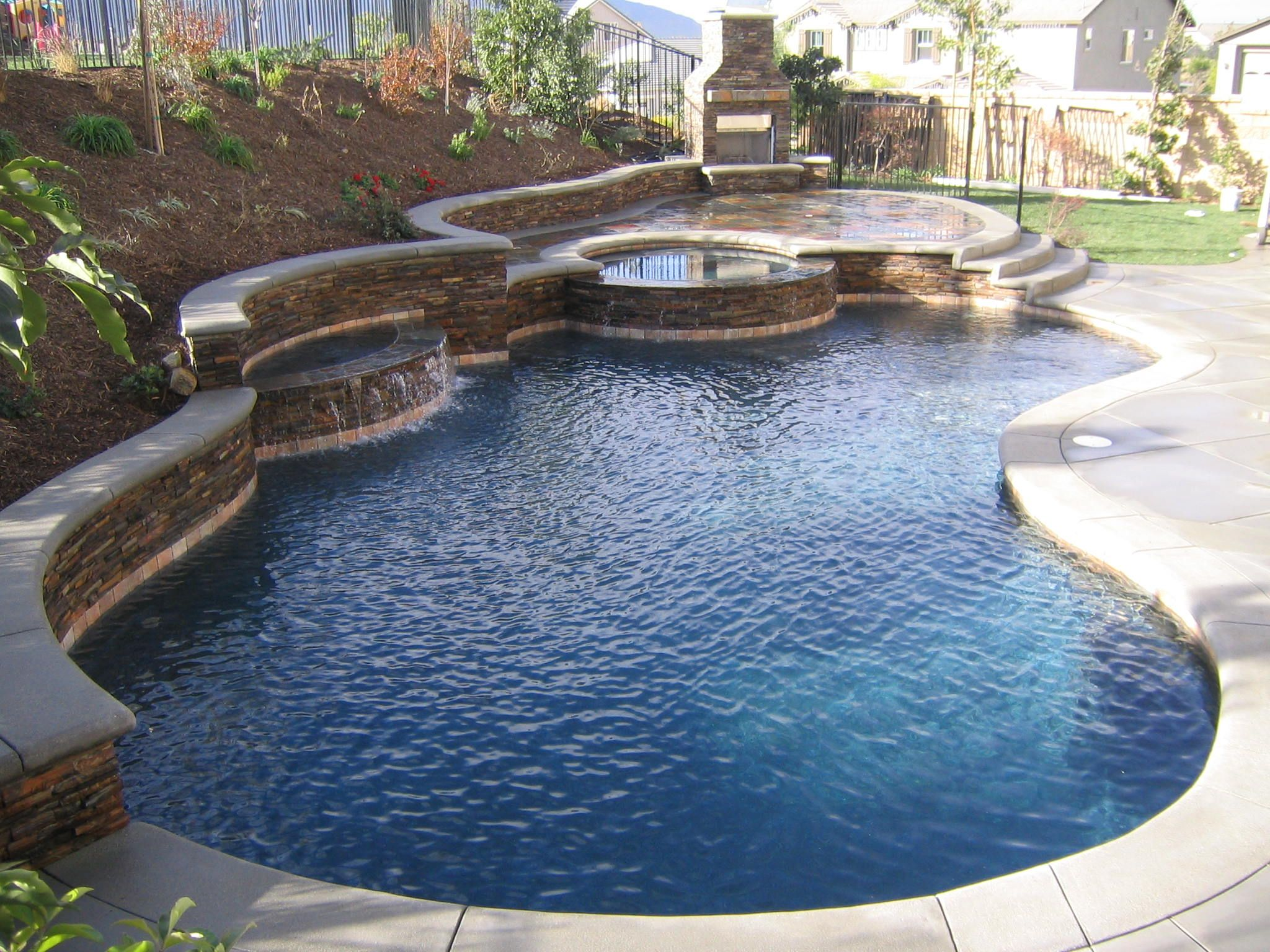 Pool Designs For Small Backyards | Pool & Landscape Design ... on Outdoor Kitchen With Pool Ideas id=18006