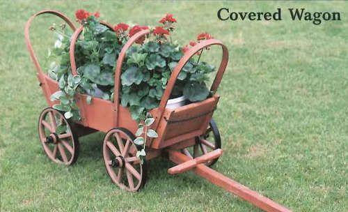 Amish Made Covered Wagon Yard Garden Decoration Planter Ebay Jardineras