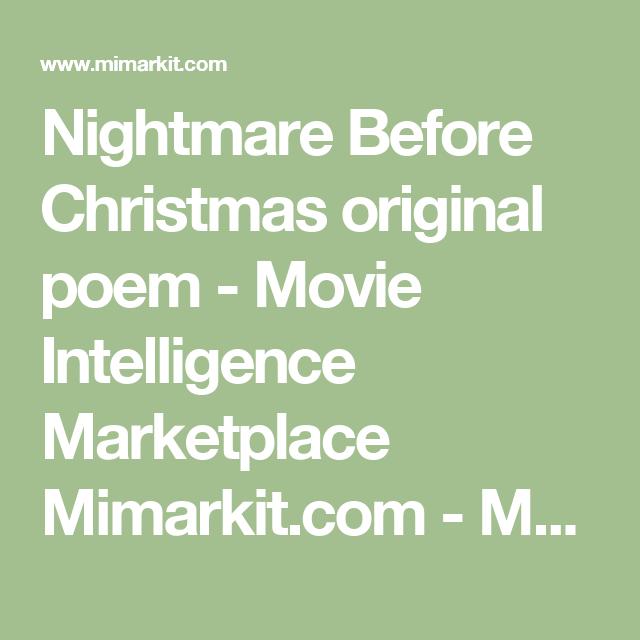 Nightmare Before Christmas original poem - Movie Intelligence Marketplace Mimarkit.com - Movie Merchandise, New and More