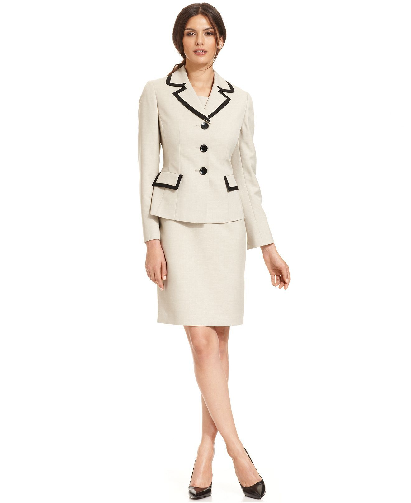 Le Suit Petite Contrast-Trim Blazer & Sleeveless Sheath Dress - Petite Suits & Separates - Women - Macy's-Another great Career to Evening kind of suit. These things will continue you further on; and they will look good on you.