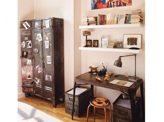 chambre ado style industriel chambre enfant pinterest. Black Bedroom Furniture Sets. Home Design Ideas