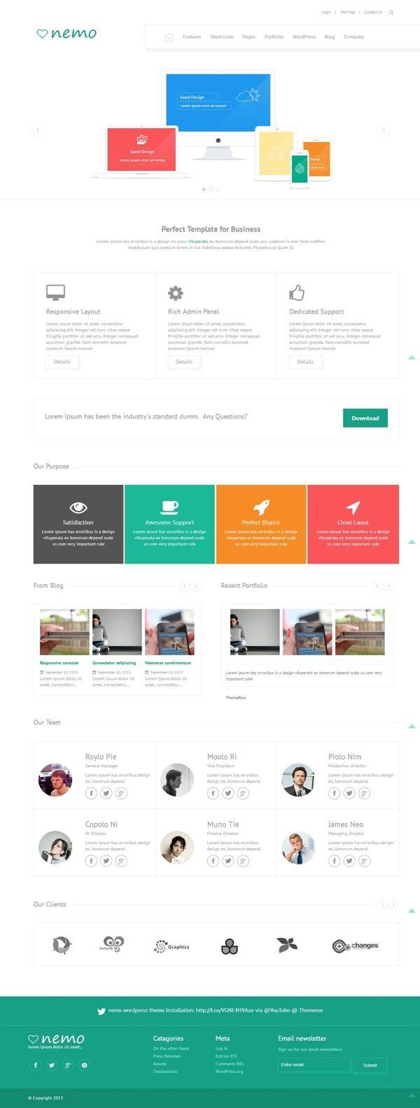 Nemo White Wp Theme On Behance Web Design Web Graphic Design Top Web Designs