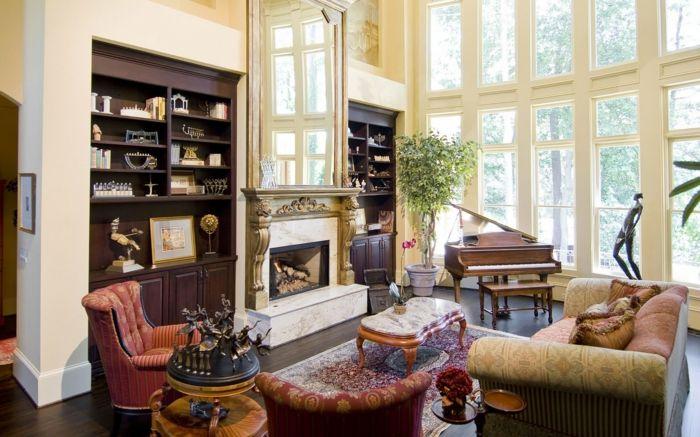 Landhausstil Wohnzimmer Einrichten Kamin Pflanze Offene Regale | Denenecek  Projeler | Pinterest | Living Rooms And Room