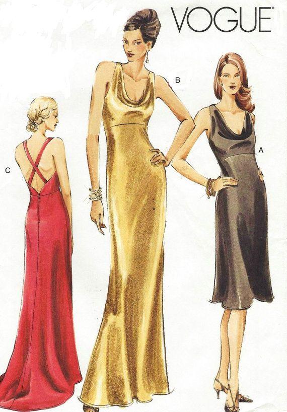Oop Vogue Sewing Pattern V8113 Womens Bias Cut Evening