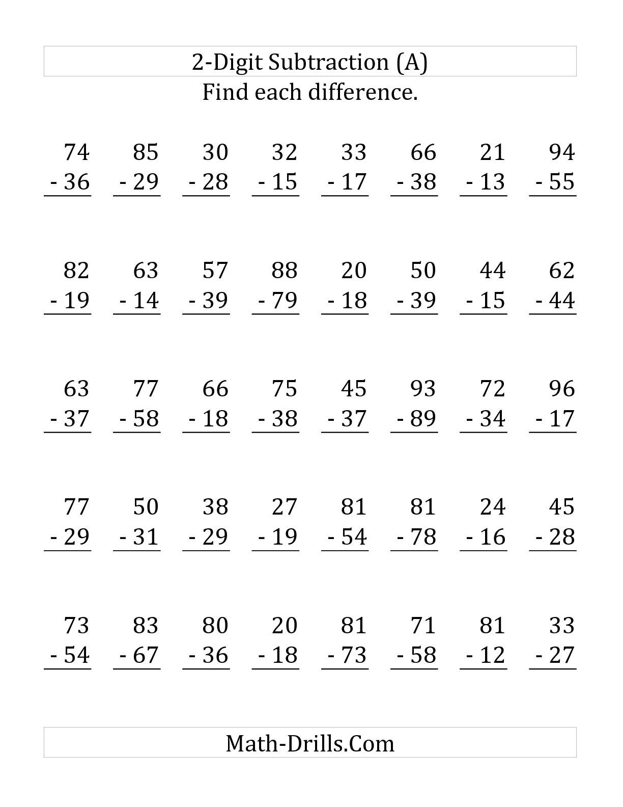 This Subtraction Worksheet May Be Printed Downloaded Or