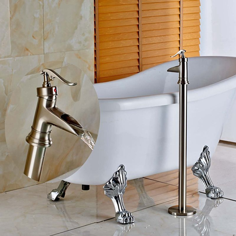 Waterfall Spout Bathroom Floor Mounted Tub Filler Tub Faucet ...
