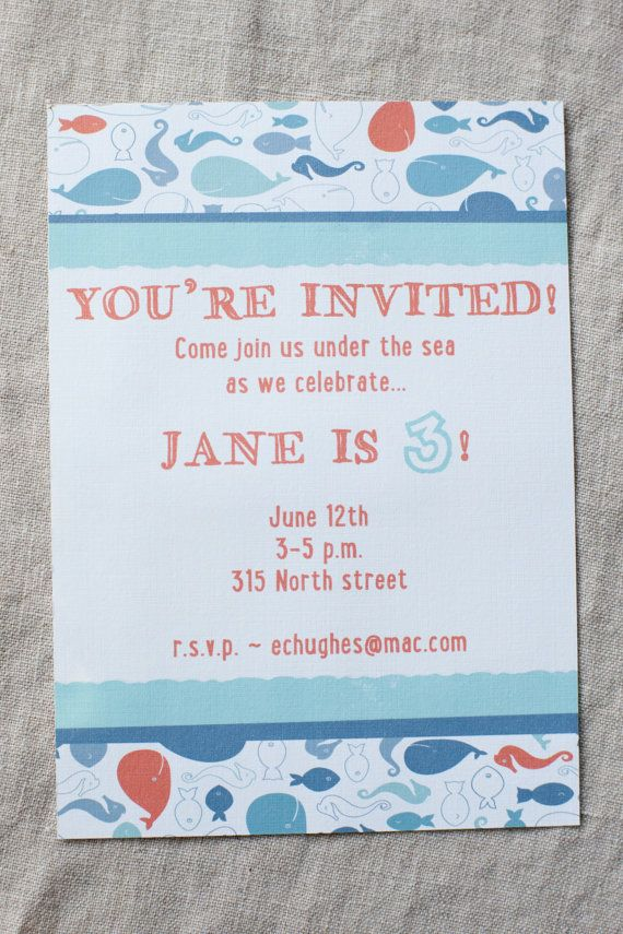 Under the Sea Party Invitation - Download or Printed on Etsy ...