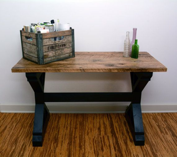 Reclaimed Barn Wood Console Table Oak Wood Top X Style Accent