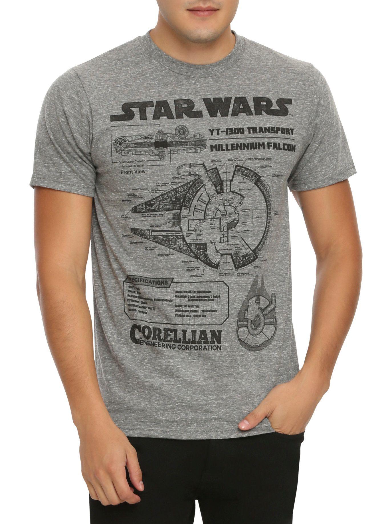 Star wars millennium falcon blueprint t shirt falcons and star star wars millennium falcon blueprint t shirt malvernweather Choice Image