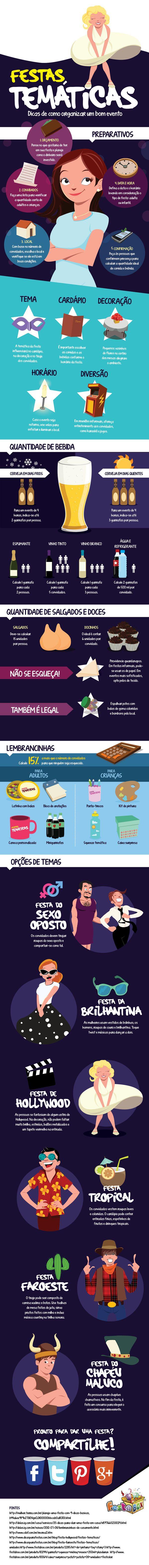 c036d119bdb7c9 Infográfico - Dicas de Festas Temáticas | Festas | Organizar festa ...