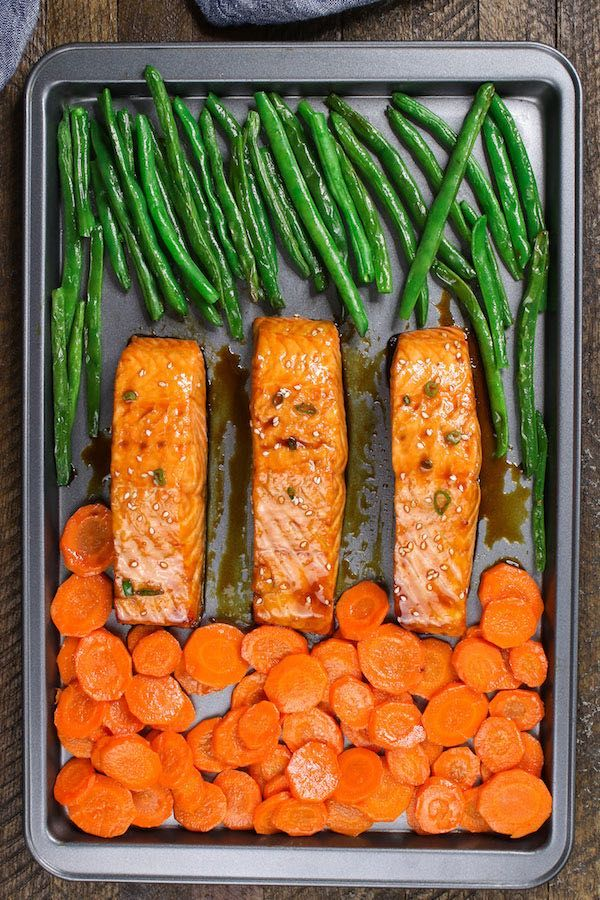 Baked Teriyaki Salmon with Green Beans and Carrots | TipBuzz