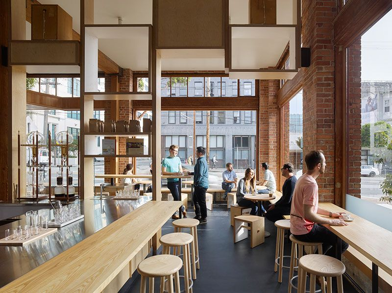 Bohlin Cywinski Jackson Have Designed A New Coffee Shop In San Francisco That S Filled With Light Wood Modern Coffee Shop Wood Interior Design Coffee Shop Design
