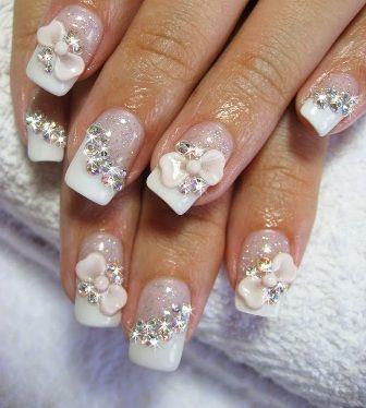 Wedding nail art nail art pinterest bridal nail art bridal wedding nail art prinsesfo Image collections