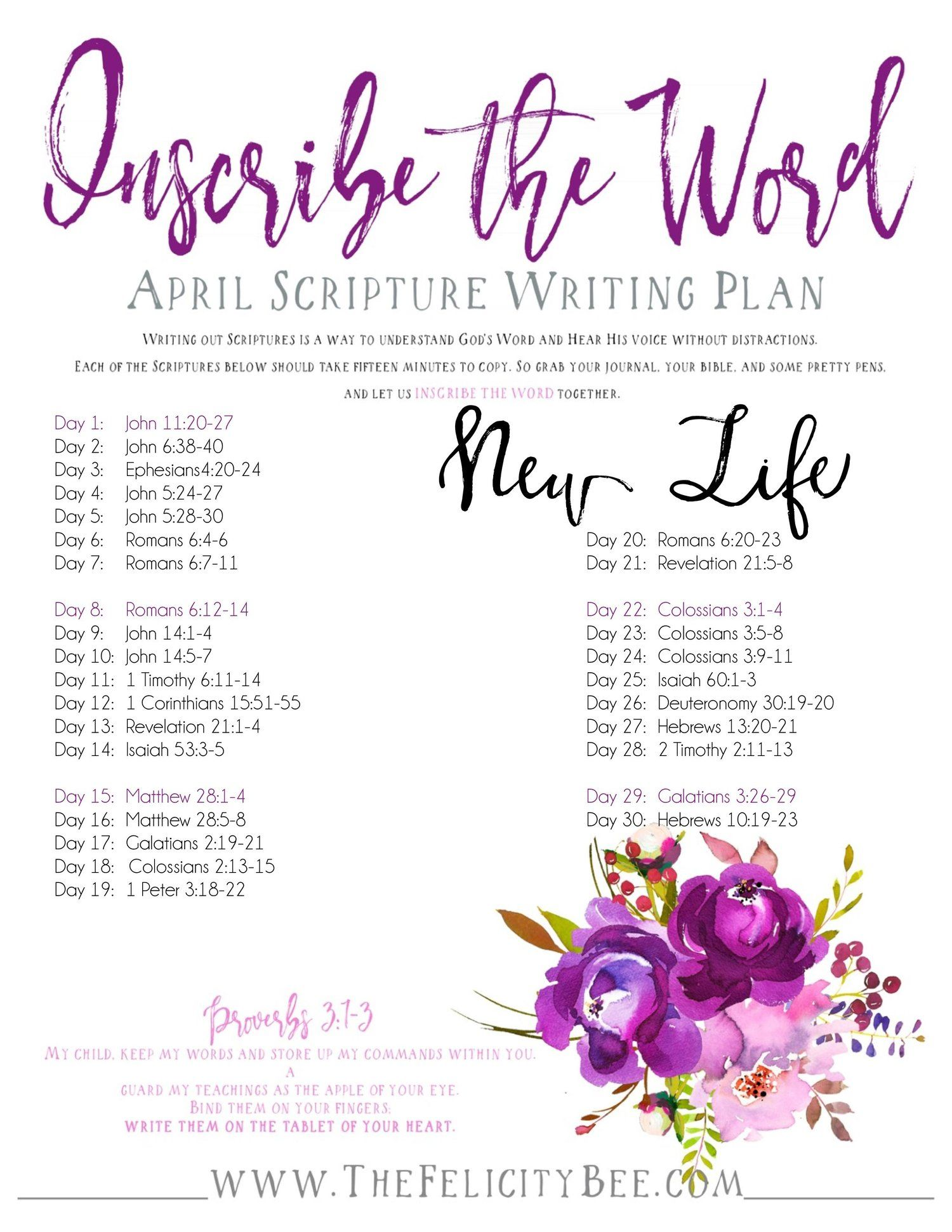 Inscribe The Word April Scripture Writing Plan