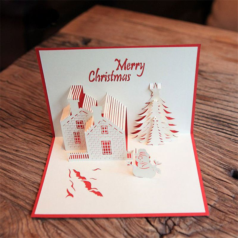 Red christmas castle 3d laser cut pop up paper handmade postcards red christmas castle 3d laser cut pop up paper handmade postcards custom wholesale greeting cards xmas m4hsunfo