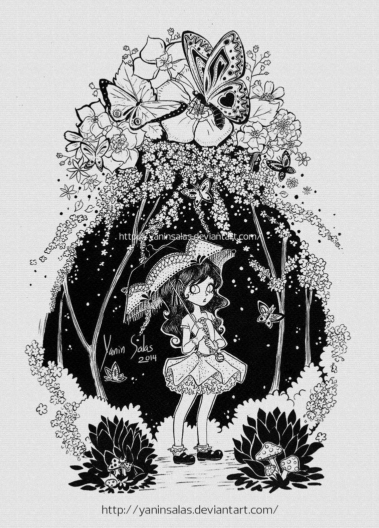 Ilustración tradicional, tinta sobre papel.