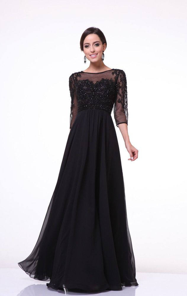 b527fad155b Modest Long Mother of the Bride Dress Plus Size Formal Gown with Sleeves   TheDressOutlet  Formal