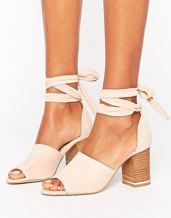 c40ae708542 ASOS TAKE CHARGE Tie Leg Heeled Sandals -Dusty Pink Women's Shoes ...