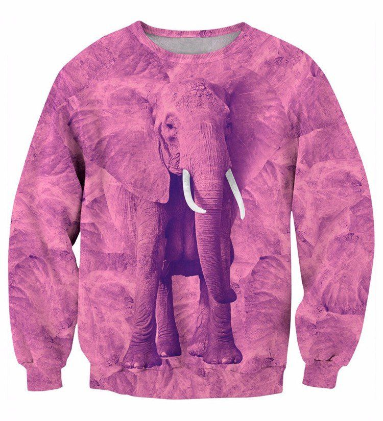 Cute Animal Pink Elephant 3D Fashion Crewneck Sweatshirt. #Cute #Animal #Pink #Elephant #3D #Fashion #Crewneck #Sweatshirt