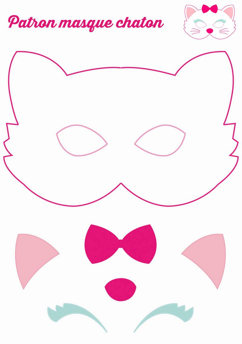 La feutrine l alli e des loisirs cr atifs masque chat le masque et feutrine - Chat coloriage masque ...